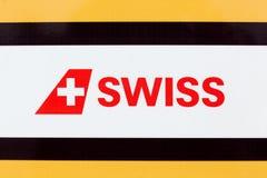 Swiss International Air Lines logo na panelu zdjęcia royalty free