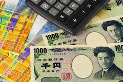 Swiss and Japanese currency. Pair commonly used in forex trading with calculator