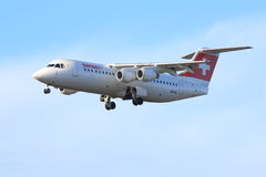Swiss jet on approach Stock Photos
