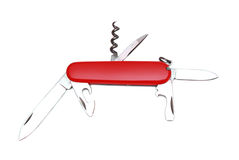 Swiss knif. Red swiss knife with open blades isolated Royalty Free Stock Image