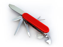 Swiss knife isolated on white Stock Photography