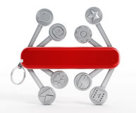 Swiss knife with technology icons Stock Photo