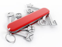 Swiss knife with technology icons Royalty Free Stock Photography