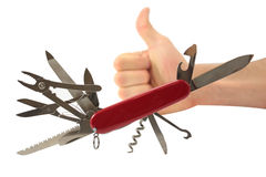 Swiss knife with thumbs up Stock Photo