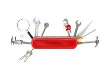Swiss knife tool. Swiss knife multi tool 3d vector illustration