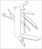Swiss knife vector line art Royalty Free Stock Photography