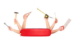 Swiss Knife With Hands That Hold Stock Photography