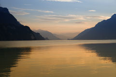Swiss lake sunset Stock Image