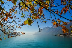 Swiss lake at sunset in Brienz, Switzerland royalty free stock photography