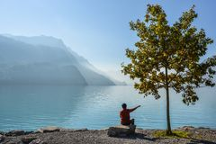 Swiss lake at sunset in Brienz, Switzerland royalty free stock image