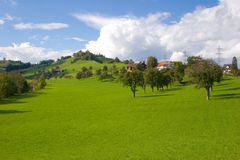 Swiss landscape. Swiss early Fall landscape, very green and sunny Stock Photo