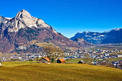 Swiss landscape. Country landscape with fields and mountains. Switzerland-Liechtenstein Stock Photo