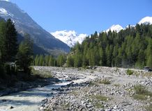 Swiss Landscape. Swiss Alps and River stock photo