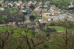 Swiss landscape of Bellinzona city, the view of Castelgrande castle from upper point stock photos