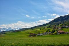 Swiss landscape countryside during spring Stock Photos