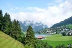 Swiss Landscape at the foot of Alps Royalty Free Stock Image