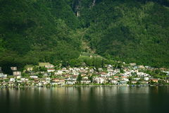 Swiss Landscape. Landscape in Swiss. A group of house along the lake with reflection Royalty Free Stock Photos