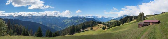 Swiss landscape panorama canton prattigau. Beautiful landscape panorama - swiss alps and pasture stelserberg, canton prattigau stock photography