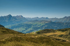 Swiss landscape showing mountains. Mountains and meadows - the perfect view Stock Image