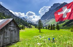 Swiss Landscape in Spring stock images