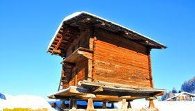 Swiss log cabin for storing grain Stock Image