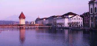 Swiss Luzern. Swiss lake view with Luzern old tower stock photography