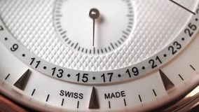 Swiss made chronograph moving second hand. Slow motion macro dolly shot. Clip stock video footage