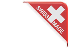 Swiss made concept, red corner. 3D rendering Royalty Free Stock Photo