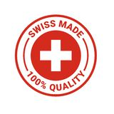 Swiss made 100 percent quality vector seal icon. Swiss made seal logo. Vector 100 percent premium Switzerland quality badge icon with Swiss flag royalty free illustration