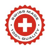 Swiss made quality Switzerland vector flag seal. Swiss made 100 percent original premium quality seal icon. Vector Switzerland flag logo in circle frame stock illustration