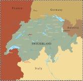 Swiss map with major cities. Stock Photos