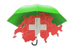 Swiss map under umbrella. Security and protect or insurance conc Stock Image
