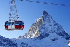 Swiss Matterhorn. The popular mountain Matterhorn with ski-lift cabine, Switzerland Stock Images