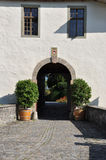 Swiss medieval castle entrance, Spiez Switzerland Royalty Free Stock Photography