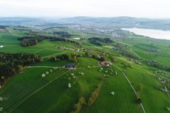 Swiss Midlands with lake Sempach and hilly Landscape in Central Switzerland. Nottwil stock photos