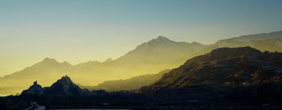 Swiss mountain. When the sun disappeared behind the mountain Royalty Free Stock Images