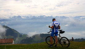 Swiss mountain biker Stock Photography