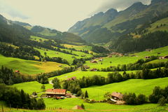 Swiss mountain chalets Stock Photos