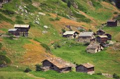 Swiss mountain hamlet. A small mountain hamlet in the Swiss Alpine Zmutt Valley above Zermatt. The hamlet has no road access, but can be reached by foot Royalty Free Stock Photo
