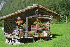 Swiss mountain hut. Picturesque Swiss mountain hut in the Alps royalty free stock image