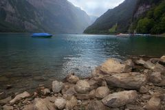 Swiss mountain lake Klontal Royalty Free Stock Photo