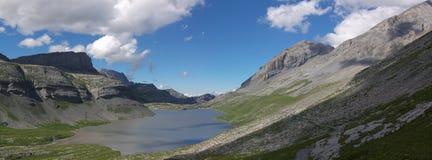 Swiss mountain lake panorama Royalty Free Stock Photo