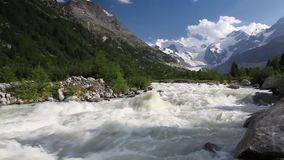 Swiss mountain landscape of the Morteratsch Glacier Valley stock video footage