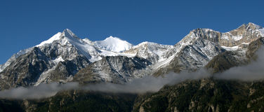 Swiss mountain panorama near Grachen. Grächen on a clear autumn morning (Valais, Switzerland Royalty Free Stock Photos