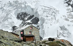 Swiss mountain refuge stock photography