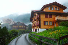 Swiss mountain town Wengen Stock Images