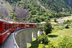 Swiss mountain train Bernina Express Royalty Free Stock Photography