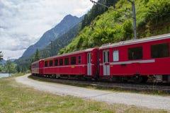 Swiss mountain train Bernina Express Royalty Free Stock Photo