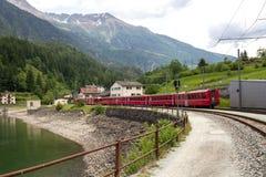 Swiss mountain train Bernina Express Stock Photography