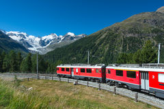 Swiss mountain train Bernina Express Royalty Free Stock Photo